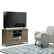 Simpli Home Warm Shaker TV Media Stand in Distressed Grey (AXWSH004-GR)