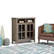 Simpli Home Warm Shaker Medium Storage Media Cabinet in Distressed Grey (AXWSH005-GR)
