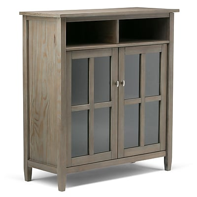 Simpli Home Warm Shaker Medium Storage Media Cabinet in Distressed Grey (AXWSH005-GR)