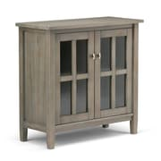Simpli Home Warm Shaker Low Storage Cabinet in Honey Brown (AXWSH009)