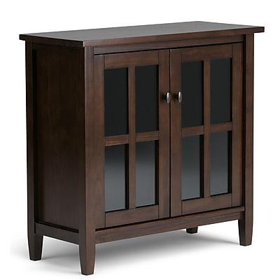 Simpli Home Warm Shaker Low Storage Cabinet in Tobacco Brown (AXWSH009-TB)