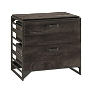 """Bush Furniture Refinery 2-Drawer Lateral File Cabinet, Letter/Legal, Dark Gray Hickory, 32"""" (RFF132GH-03)"""
