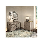 """kathy ireland® Home by Bush Furniture Ironworks 48""""W Wood Writing Desk with File Cabinets, Restored Gray (IW005RTG)"""