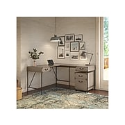 """kathy ireland® Home by Bush Furniture Ironworks 60"""" Wood L-Shaped Writing Desk with Mobile File Cabinet, Restored Gray"""