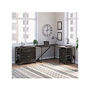 """Bush Furniture Refinery 49"""" Engineered Wood L-Shaped Industrial Desk with File Cabinets, Dark Gray Hickory (RFY009GH)"""