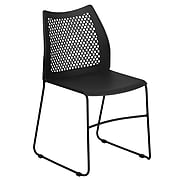 Flash Furniture Hercules Series Plastic Stack Chair, Black (RUT498ABLACKGG)