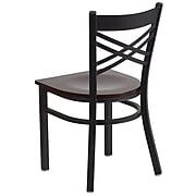 Flash Furniture  Hercules Series Black X-Back Metal Restaurant Chair, Walnut Wood Seat XU6FOBXBKWALW