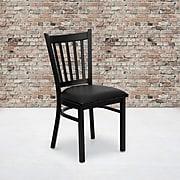 Flash Furniture Hercules Series Black Vertical Back Metal Restaurant Chair, Black Vinyl Seat,