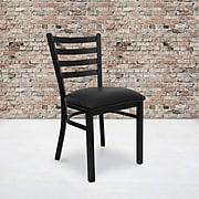 Flash Furniture Hercules Series Ladderback Metal Restaurant Chair, Black with Black Vinyl Seat (XUDG694BLADBLKV)