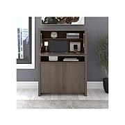 "Bush Furniture Bristol 35"" Wood Secretary Desk with Storage Cabinet, Restored Gray/Thread Gray (BRD135RT-03)"