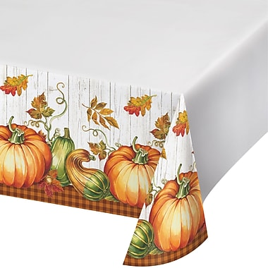 Creative Converting Harvest Plenty Plastic Tablecloth, 54