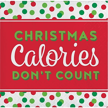 Creative Converting Christmas Calories Don't Count Holiday Beverage Napkins, 5