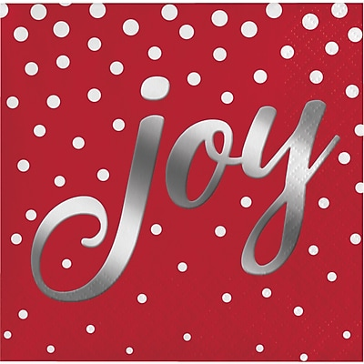 Creative Converting Foil Stamped Holiday Joy Red Beverage Napkins, 5