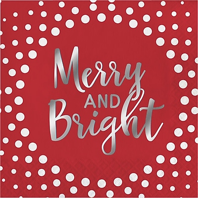 Creative Converting Foil Stamped Holiday Merry and Bright Red Beverage Napkins, 5