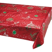 "Creative Converting Metallic Printed Christmas Plastic Tablecloth, 54"" x 108"" (39132)"