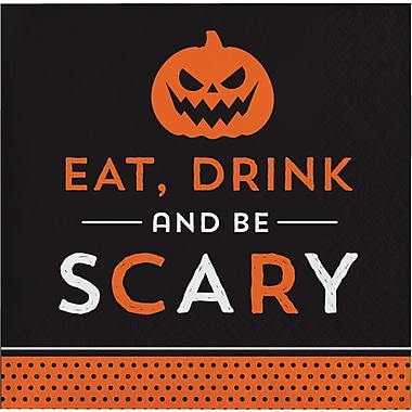 Creative Converting Eat Drink and be Scary Halloween Beverage Napkins, 5
