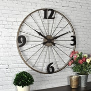 "FirsTime Bicycle Wheel 20""H Distressed Gray Wall Clock (50077)"