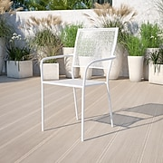 White Indoor-Outdoor Steel Patio Arm Chair with Square Back [CO-2-WH-GG]