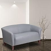 HERCULES Imperial Series Gray Leather Loveseat [111-2-GY-GG]