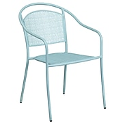 Sky Blue Indoor-Outdoor Steel Patio Arm Chair with Round Back (CO-3-SKY-GG)