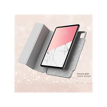 "i-Blason iPadPro2020-12.9-Cosmo-Pen-Marble Cosmo Thermoplastic Polyurethane (TPU) Folio for 12.9"" iPad Pro, Marble Pink"