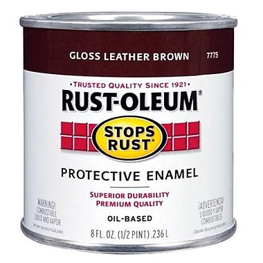 Rustoleum .50 Pint Leather Brown Protective Enamel Oil Base Paint (JNSN15677)