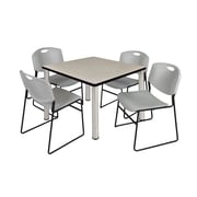 "Regency Kee 36"" Square Breakroom Table- Maple/ Chrome with 4 Zeng Stack Chairs- Grey (TB3636PLPCM44GY)"