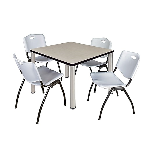 "Regency Kee 36"" Square Breakroom Table- Maple/ Chrome with 4 'M' Stack Chairs- Grey (TB3636PLPCM47GY)"
