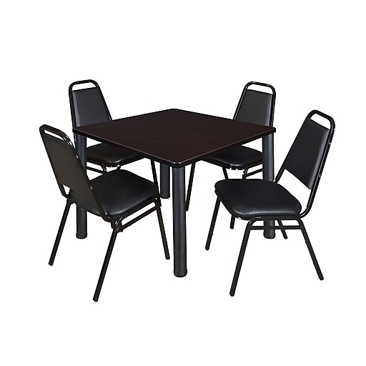 "Regency Kee 42"" Square Breakroom Table- Mocha Walnut/ Black with 4 Restaurant Stack Chairs- Black (TB4242MWPBK29BK)"