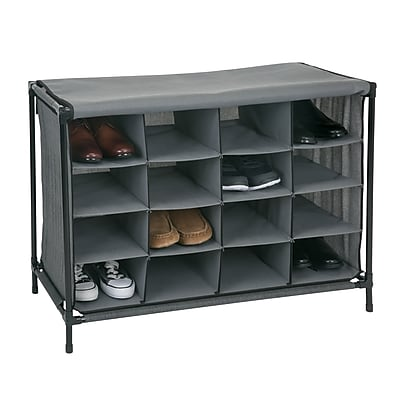 Simplify Shoe Cubby, 16 Compartment, Grey (23200-GREY)