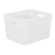 Simplify Herringbone Storage Bin, Large, White (25175-WHITE)