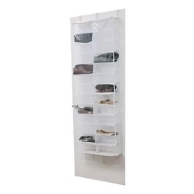 Simplify Over the Door Shoe Caddy, 26 Pocket, Crystal Clear (26369)