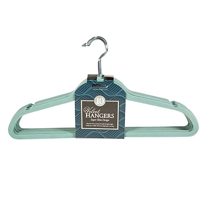 Simplify Super Slim Velvet Huggable Hangers, 10 Pack, Dusty Blue (3246-DUSTYBLUE)