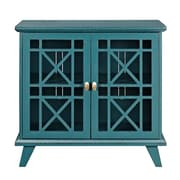 "Walker Edison 32"" Gwen Fretwork Accent Console Cabinet - Blue (SP32FWABU)"