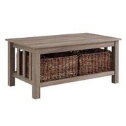 "Walker Edison 40"" Wood Storage Coffee Table with Totes - Driftwood (SP40MSTAG)"