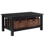 "Walker Edison 40"" Wood Storage Coffee Table with Totes - Black (SP40MSTBL)"