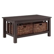"Walker Edison 40"" Wood Storage Coffee Table with Totes - Espresso (SP40MSTES)"
