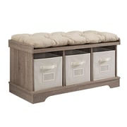 "Walker Edison 42"" Wood Storage Bench with Totes and Cushion - Driftwood (SP42STCAG)"