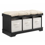 "Walker Edison 42"" Wood Storage Bench with Totes and Cushion - Black (SP42STCBL)"