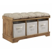 "Walker Edison 42"" Wood Storage Bench with Totes and Cushion - Barnwood (SP42STCBW)"