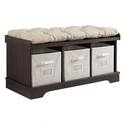 "Walker Edison 42"" Wood Storage Bench with Totes and Cushion - Espresso (SP42STCES)"