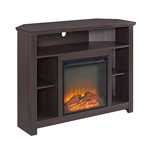 Walker Edison 44 Wood Corner Highboy Fireplace Tv Stand Es Ressp Sp44fphbces Staples
