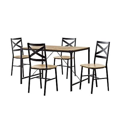 Walker Edison 5-Piece Angle Iron Wood Dining Set - Barnwood (SP48WAIBW)