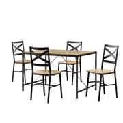 Walker Edison 5-Piece Angle Iron Wood Dining Set - Barnwood (SP48WAIBW)