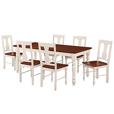 Walker Edison 7-Piece Two Toned Solid Wood Dining Set - Brown/White (SP60WTLWBN)