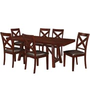 Walker Edison 7-Piece Solid Wood Trestle Style Dining Set - Espresso (SP60WTRES-7)