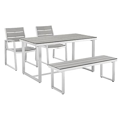 Walker Edison All-Weather 4-Piece Dining Set - Grey (SPAW4SGY-BCH)