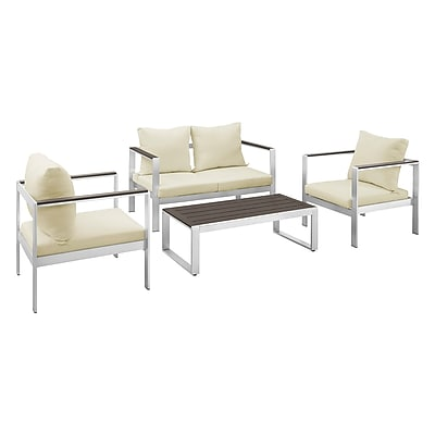 Walker Edison 4-Piece Mod Style Chat Set with Cushions - Silver/Espresso (SPAWC4SSES)