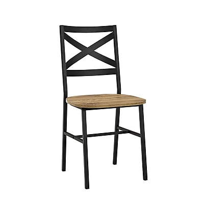 Walker Edison Metal X-Back Wood Dining Chair, Set of 2, Barnwood (SP18AI2BW)
