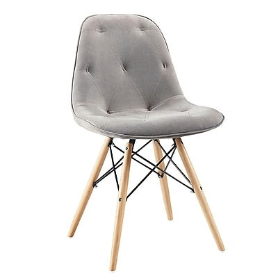 Walker Edison Grey Upholstered Eames Dining Kitchen Chairs - Set of 2 SPH18UGY)